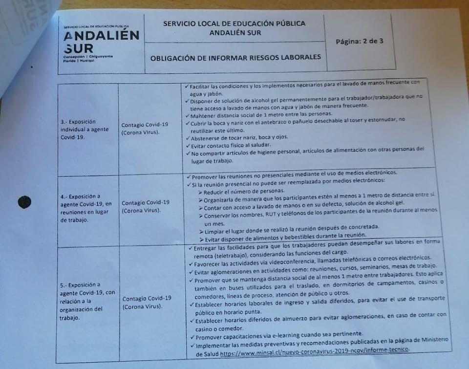 SLEP Andalién Sur informativo covid 2021